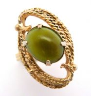 Vintage Adjustable Size Faux Jade Ring By Sarah Coventry.